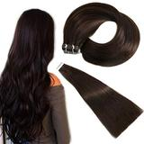 Tape in Hair Extensions Darkest Brown Human Hair 14 Inch 100% Remy Human Hair Extensions Silky Straight for Fashion Women 20pcs 50 Grams No shedding No Tangling Natural Remy Human Hair Extensions