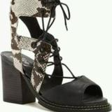 Free People Shoes | Free People Lennon Lace-Up Cutout Leather Sandal | Color: Black | Size: 9