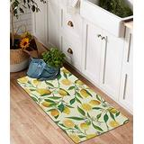 YoKii Lemon Cotton Runner Rug 2x4.4 Modern Farmhouse Small Area Runners with Non-Slip Pad, Summer Floral Fruits Leaves Vintage Kitchen Rug Floor Mat for Bathroom Entryway Washable (Yellow, 2x4.4)