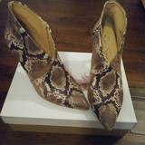Jessica Simpson Shoes | Jessica Simpson Snakeskin Ankle Booties Nwt | Color: Brown/Tan | Size: 9.5