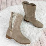 Michael Kors Shoes   Michael Kors Suede Snake Embossed Zip Ankle Boot   Color: Tan   Size: 7
