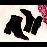 J. Crew Shoes   J.Crew Black Velvet Suede Ankle Bootie   Color: Black   Size: 8
