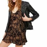 Free People Dresses | Free People Velvet Textured Trapezoid Mini Dress | Color: Brown/Tan | Size: S