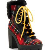 Jessica Simpson Shoes   Jessica Simpson Mikah Plaid Platform Combat Boot   Color: Black/Red   Size: 6.5