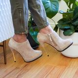 Zara Shoes   Nwt Zara Stilletto Leather Suede Ankle Boot Pumps   Color: Cream/Tan   Size: 6