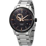 Automatic Black Dial Stainless Steel Watch - Metallic - Seiko Watches