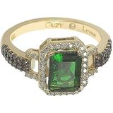 Yellow-tone Sterling Silver Prong Set Emerald Cut & Pave Cz Ring - Green - Suzy Levian Rings