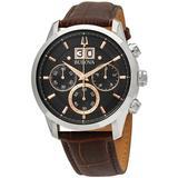 Sutton Chronograph Quartz Black Dial Mens Watch - Metallic - Bulova Watches