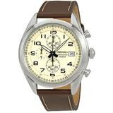 Chronograph Cream Dial Mens Watch - Metallic - Seiko Watches