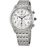 Chronograph Alarm Quartz Silver Dial Mens Watch - Metallic - Seiko Watches