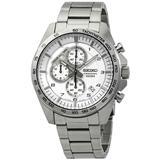Chronograph Silver Dial Stainless Steel Watch - Metallic - Seiko Watches