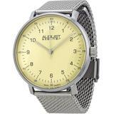 Cream Dial Stainless Steel Mesh Watch - Metallic - August Steiner Watches