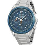 Chronograph Blue Dial Stainless Steel Watch - Blue - Seiko Watches