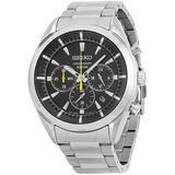 Chronograph Black Dial Stainless Steel Watch - Metallic - Seiko Watches