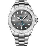 Aquadiver Automatic Grey Dial Mens Watch - Metallic - Stuhrling Original Watches