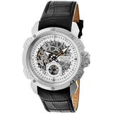 Carter Silver Skeleton Dial Black Leather Watch - Black - Heritor Watches