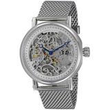 Ak6463 Automatic Silver Skeleton Dial Watch -0g2sv - Metallic - Adee Kaye Watches