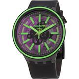 Pink Taste Quartz Black Skeleton Dial Watch - Pink - Swatch Watches