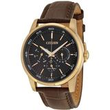 Dress Eco-drive Black Dial Brown Leather Watch -08e - Pink - Citizen Watches