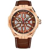 Legacy Automatic Brown Dial Mens Watch - Pink - Stuhrling Original Watches