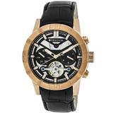 Hannibal Black Semi-skeleton Dial Rose Gold-tone Case Black Leather Strap Watch - Metallic - Heritor Watches
