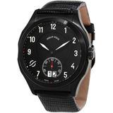 Prestige Quartz Mens Black Leather Watch - Black - Philip Stein Watches