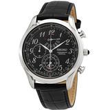 Chronograph Alarm Quartz Black Dial Watch - Black - Seiko Watches