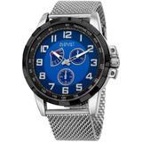 Quartz Blue Dial Stainless Steel Mesh Watch - Blue - August Steiner Watches