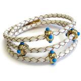 Turquoise & Cz Beaded Braided Leather Triple Wrap Bracelet In Gold-white At Nordstrom Rack - Metallic - Liza Schwartz Bracelets