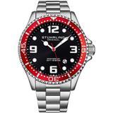 Aquadiver Black Dial Watch - Red - Stuhrling Original Watches