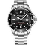 Aquadiver Automatic Black Dial Mens Watch - Metallic - Stuhrling Original Watches