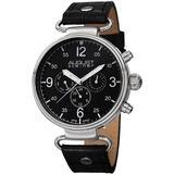 Black Dial Black Leather Watch - Black - August Steiner Watches