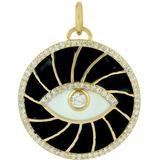 14k Solid Yellow Gold Enamel Evil Eye Charm Pendant Diamond Jewelry - Metallic - Artisan Necklaces