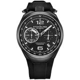 Monaco Quartz Black Dial Mens Watch - Black - Stuhrling Original Watches