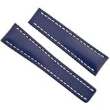 Blue Leather And White Stitching Watch Band Strap 24-20mm - Blue - Breitling Watches