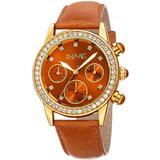 Quartz Crystal Brown Dial Watch - Brown - August Steiner Watches