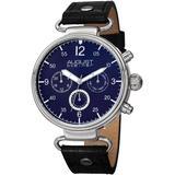 Quartz Blue Dial Black Leather Watch - Blue - August Steiner Watches
