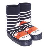 JoJo Maman Bebe Boys' Slippers FOX - Navy Stripe Fox Leather Slipper Socks - Boys