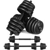 Homemaxs 30Kg Adjustable Dumbbell Set Barbell Exercise Fitness Equipment For Building Body Weight Loss Plastic in Black   Wayfair Q3245PG132
