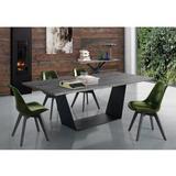 Bellini Italian Home Elio Pedestal Dining Table Wood/Metal in Brown/Gray, Size 30.0 H x 79.0 W x 43.0 D in | Wayfair Elio DT