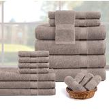 Red Barrel Studio® Dilin 18 Piece 100% Cotton Towel Set Terry Cloth/100% Cotton in Brown, Size 6.0 H x 28.0 W x 54.0 D in   Wayfair
