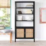 "Mistana™ Shaelyn 74"" H x 35"" W Standard Bookcase Wood in Black/Brown, Size 74.0 H x 35.0 W x 15.0 D in | Wayfair 955605BEED7A4C7E93D4D0494AB29764"