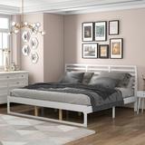 Latitude Run® Kaneka Platform Bed Wood in Gray/White, Size 79.3 W x 82.2 D in | Wayfair C17B6B7AAFA343868689443A9C692233