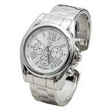 Blekon Collections Womens Analog Quartz 36mm Case Metal Bangle Watch (Silver)