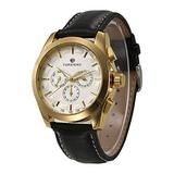 Zwbfu Fash Men's Watches Leather Band Noctilucent Mechanical Movement Waterproof Sports Business Analog Dial Wrist Watch for Men/Gold Case + White Dial