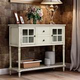NOUVCOO 2021 Sideboard Console Table with Bottom Shelf, Farmhouse Wood/Glass Buffet Storage Cabinet for Living, Kitchen, Dining Room (Antique Grey)