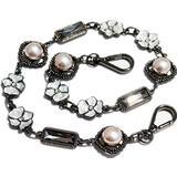 Pearls Flowers Gemstone Purse Golden Metal Chain Strap Replacement Handle Crossbody Shoulder Strap Handbag (13.7 inch, Black)