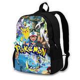 Pokemon Backpack 17 Inch Laptop Backpack Cute Cartoon Backpack Purse for Women Men Hiking Backpack Kids School Backpack