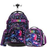 Girls Unicorn Rolling Backpack Kids Backpack with Lunch Box Wheels Backpacks for Girls for School 18inch Roller Luggage