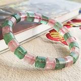 Plztou Feng Shui Wealth Prosperity Bracelet Natural Green Strawberry Quartz Pink Strawberry Quartz Bamboo Joint Bead Bracelet Stretchy Bangle Amulet Attract Wealth,8 8MM (Size : 88MM)